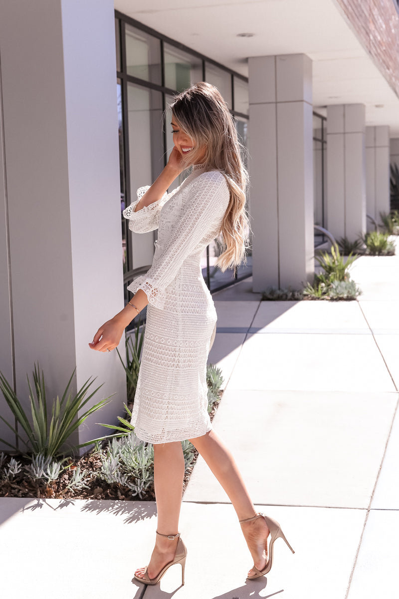 Izabel White Crochet Dress- FINAL SALE