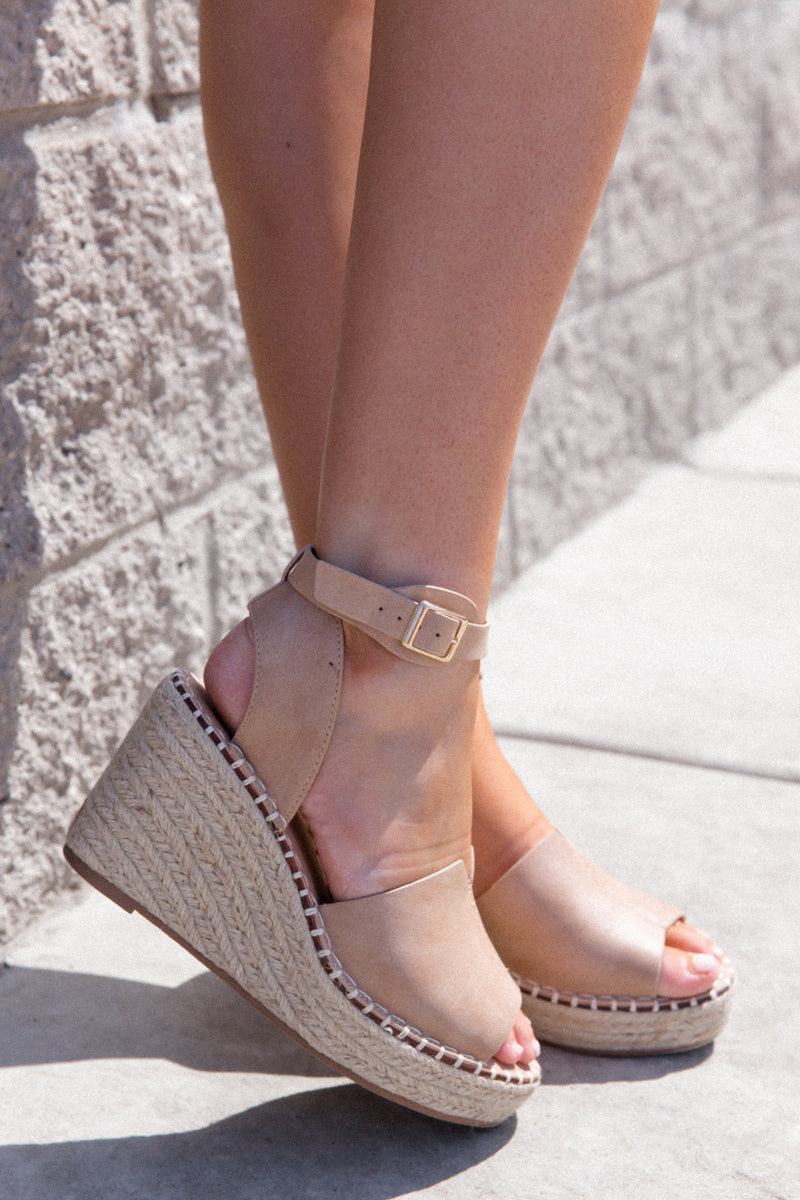 Long Walk Taupe Wedges-FINAL SALE | LLACIE