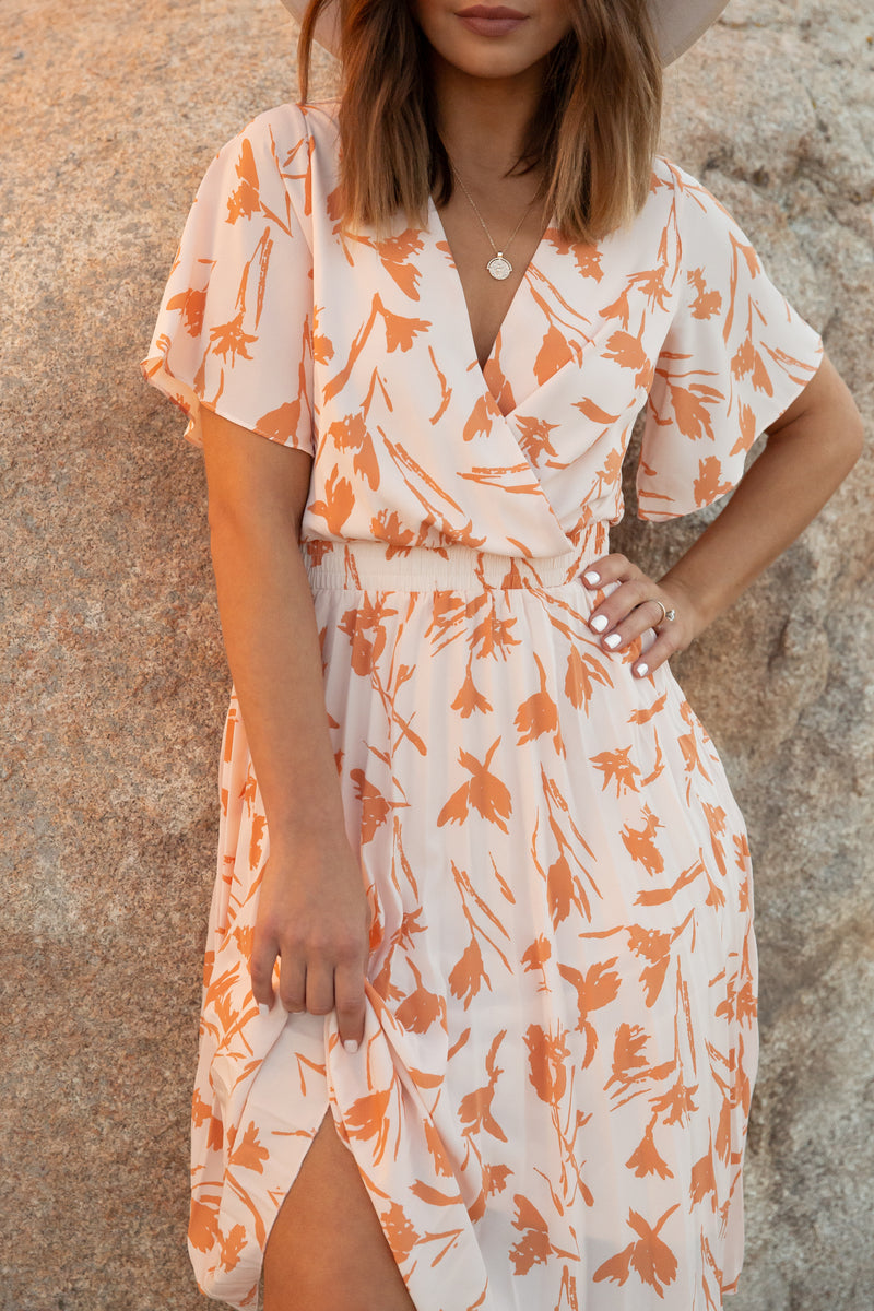 Aretha Peach Midi Dress | LLACIE