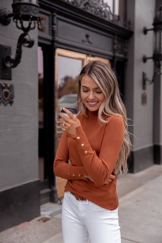 Ava Rust Long Sleeve Button Top