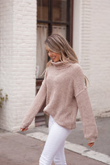 Taupe Waffle Chenille Turtleneck Sweater