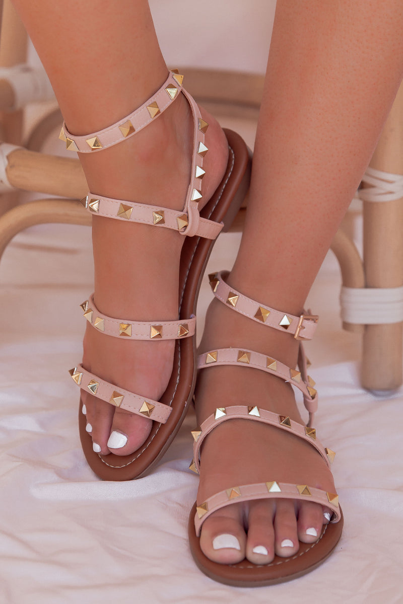 Nude Studded Sandals- FINAL SALE | LLACIE