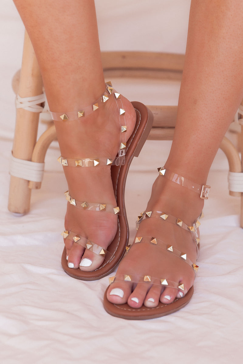 Clear Studded Sandals- FINAL SALE