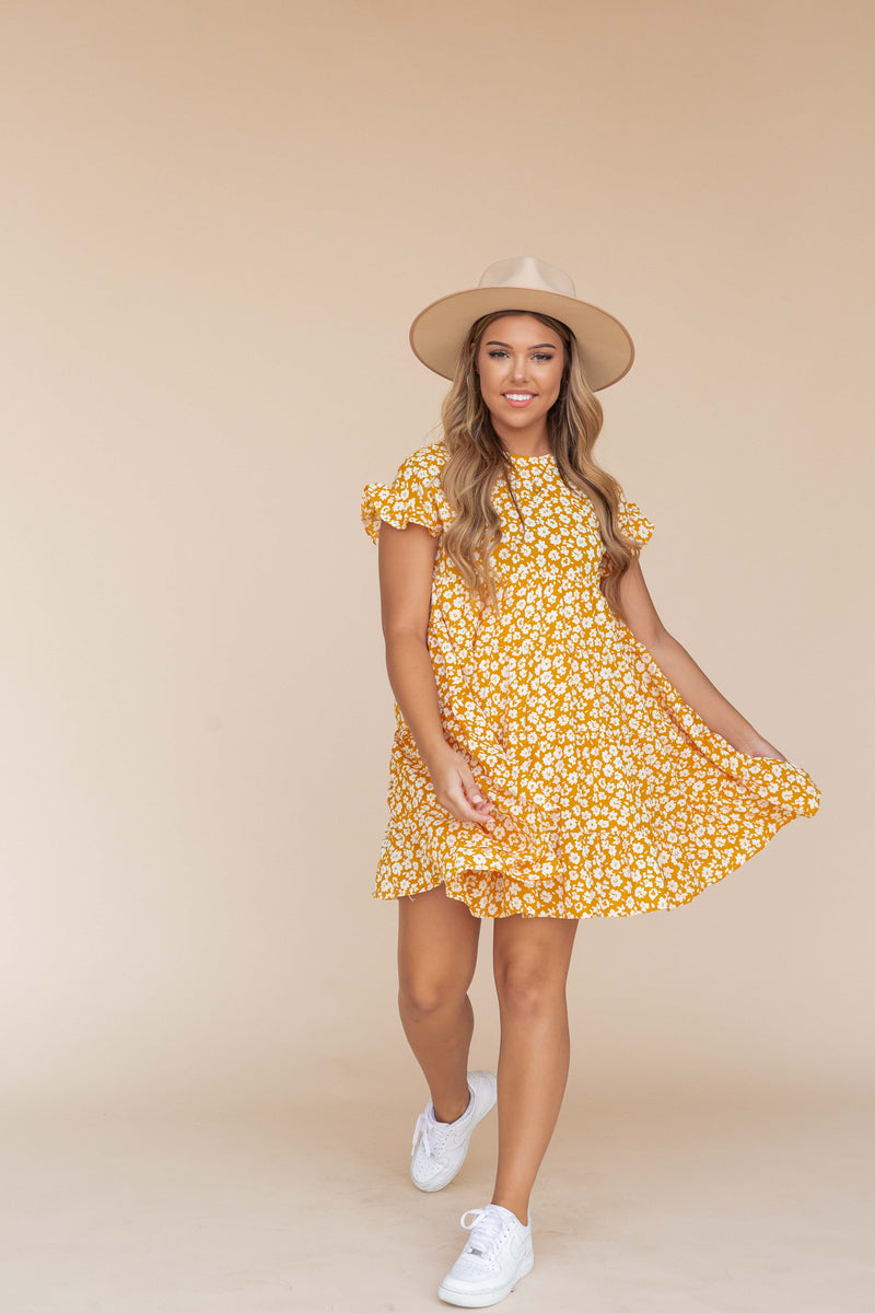 Sidney Mustard Babydoll Dress- FINAL SALE
