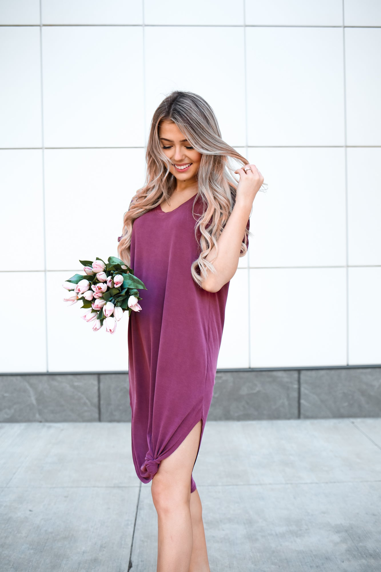 BURGUNDY KNOT JERSEY DRESS