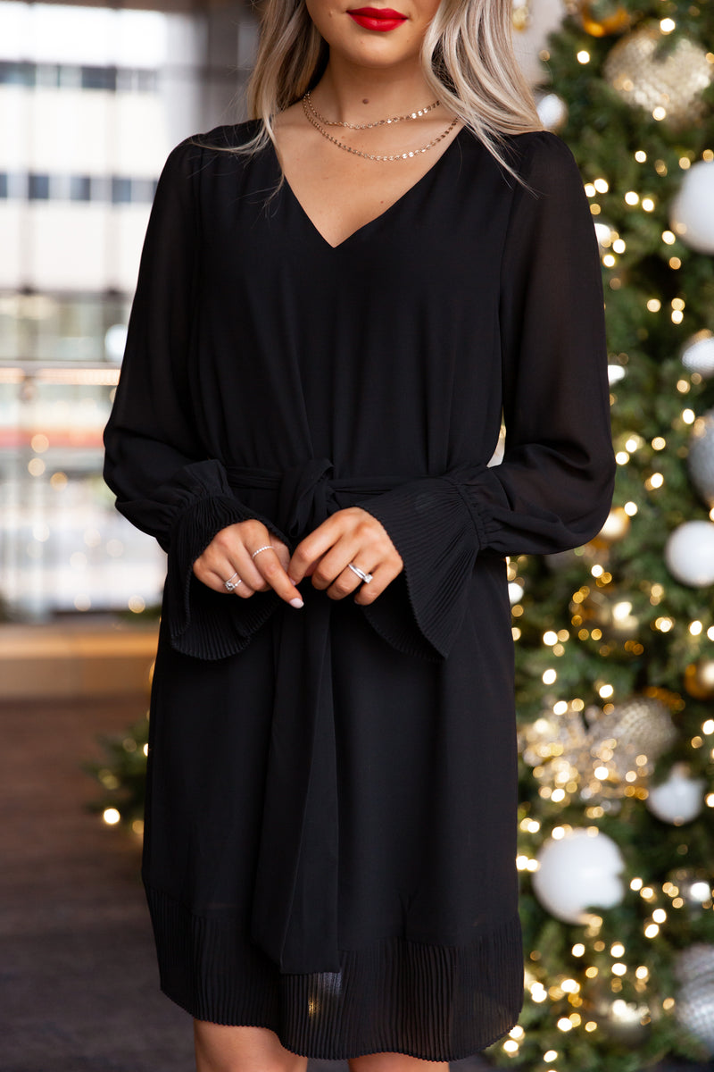 Mistletoe Black Pleated Tie Dress