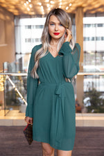 Mistletoe Forest Green Pleated Dress