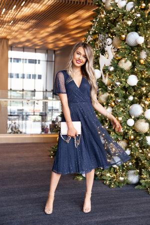 Hope Navy Sequins Dress
