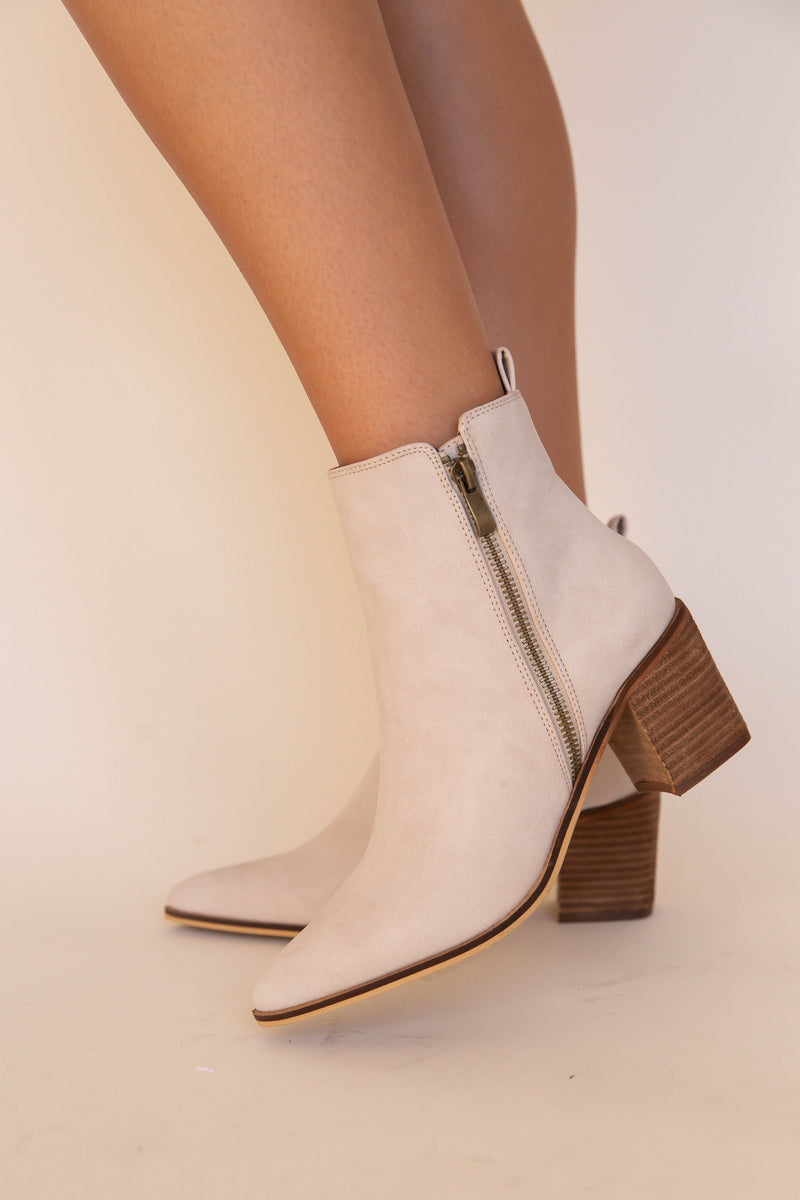 Colton Pointy Toe Cream Booties | LLACIE