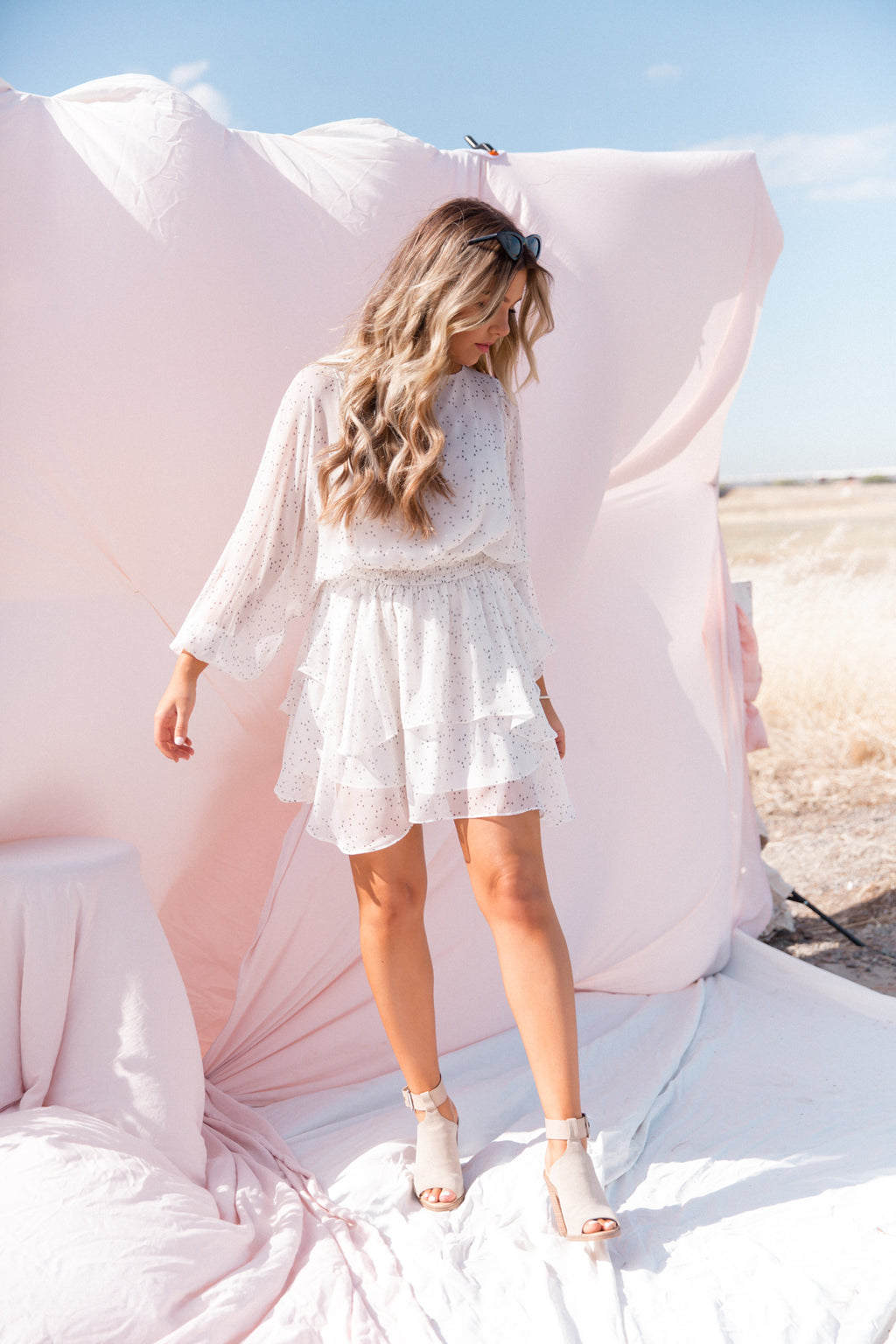Day Dreamer White Star Dress-FINAL SALE