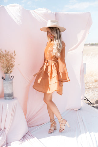 Diana Burnt Orange Pleated Dress