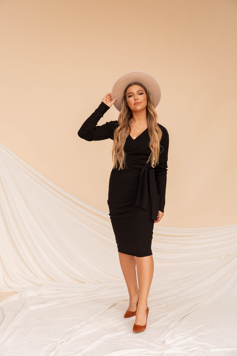 Leanna Black Wrap Tie Dress
