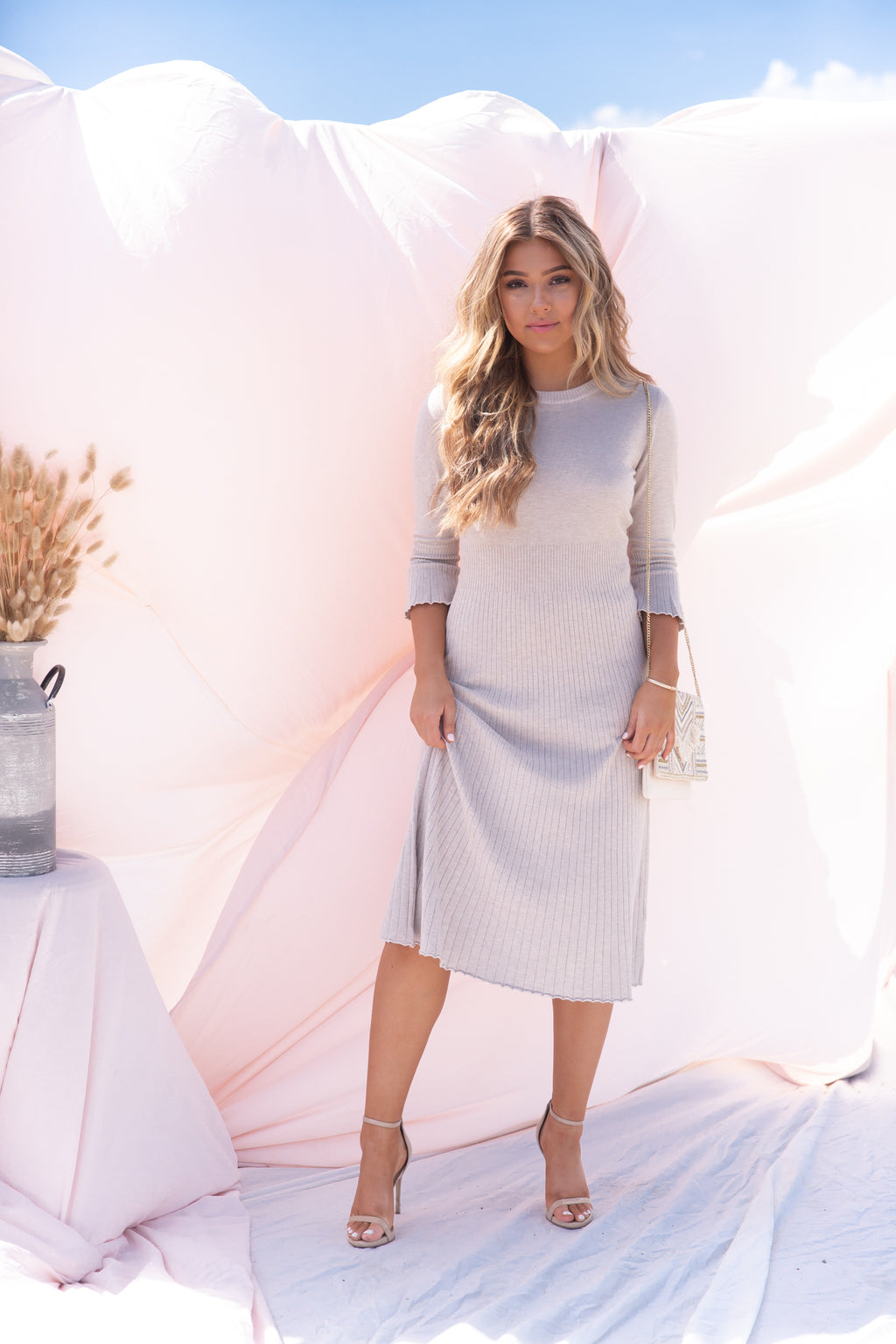 Sway Soft Grey Ribbed Dress