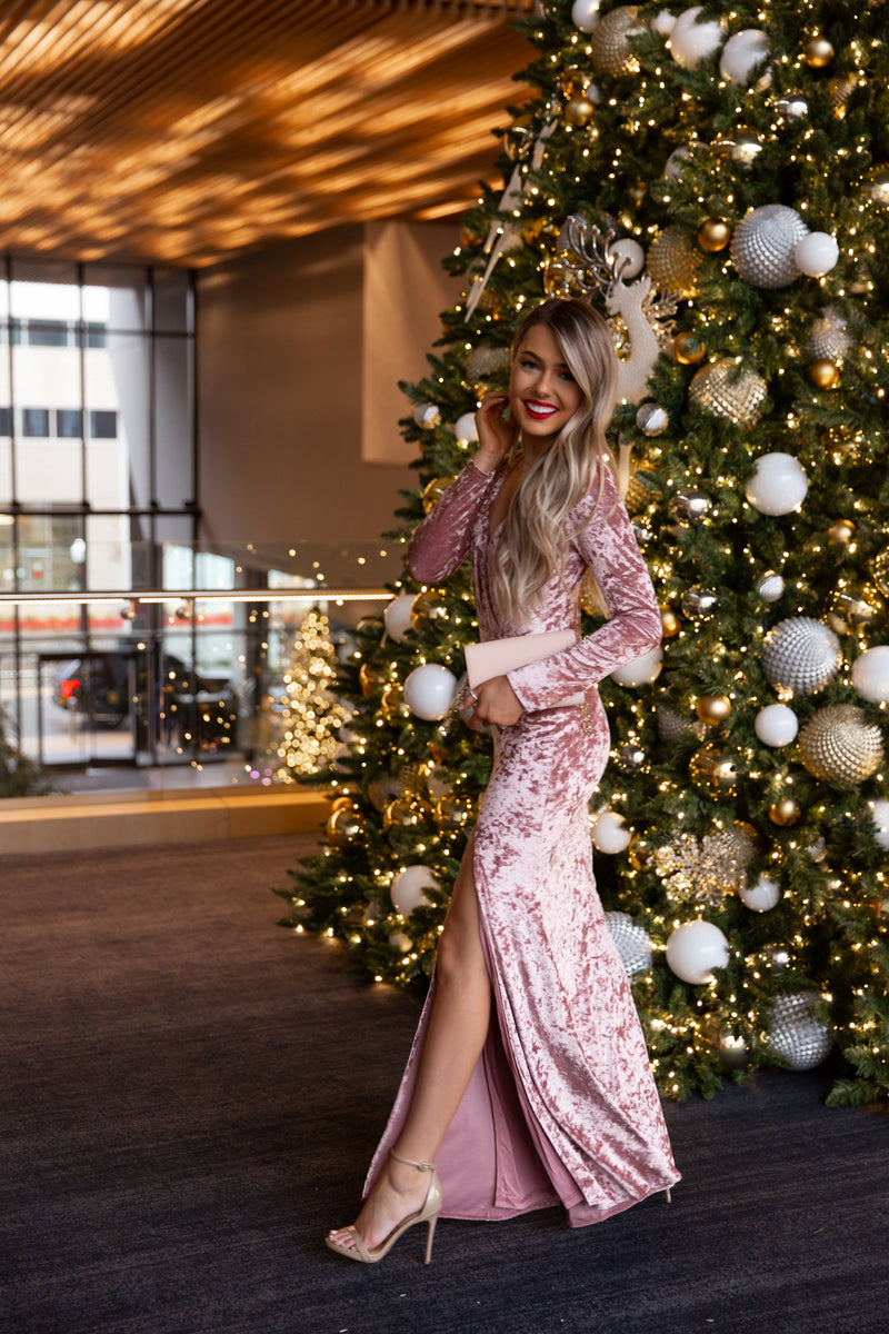 Sugarplum Crushed Velvet Maxi Dress