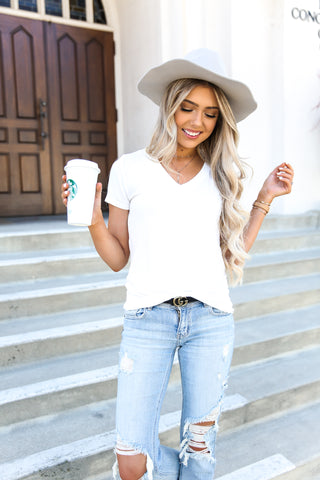 Brandy Basic White V Neck Tee