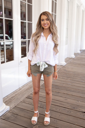 Frayed Distressed Denim Bow Shorts in Olive - llacie