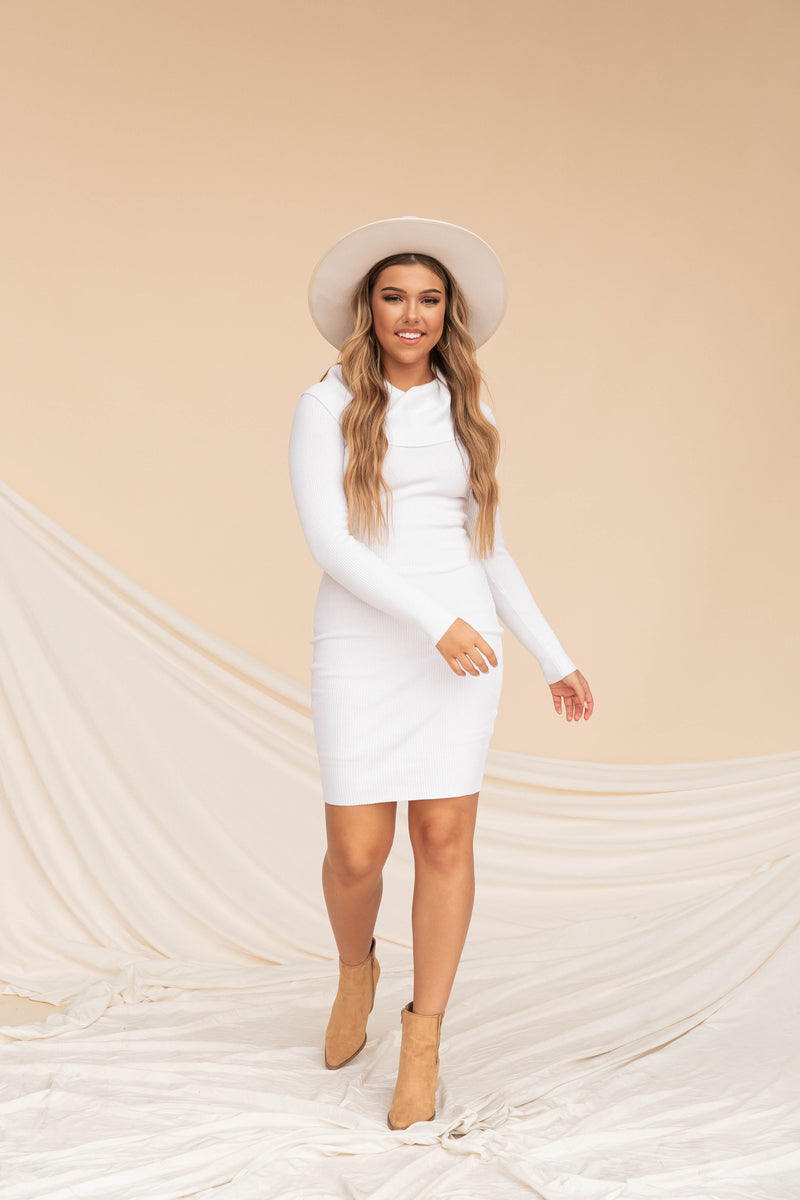 Eileen Ribbed Dress | White | LLACIE