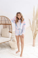 Sky Blue Tie Dye Top and Short Lounge Set- FINAL SALE