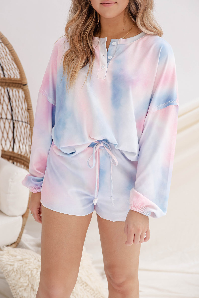 Sky Blue Tie Dye Top and Short Lounge Set