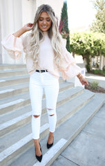 Peach Bubble Sleeve Top