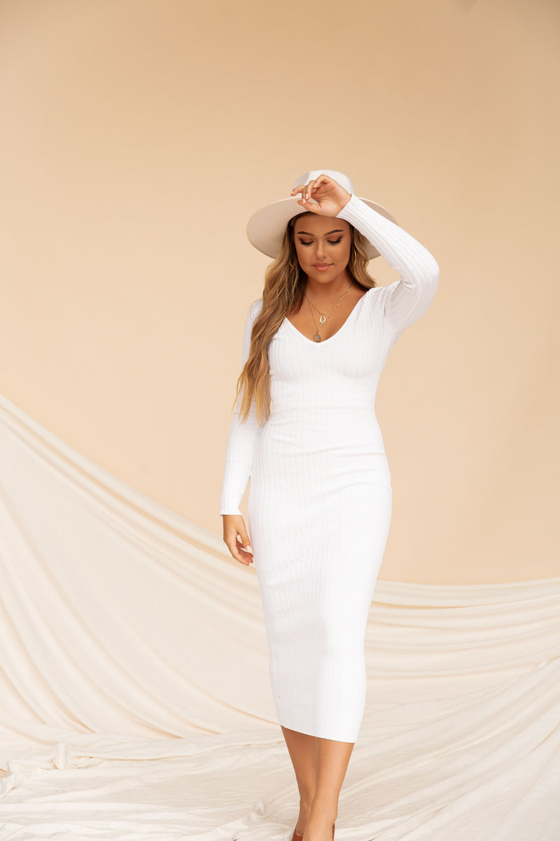 City Lights Ribbed Bodycon | White