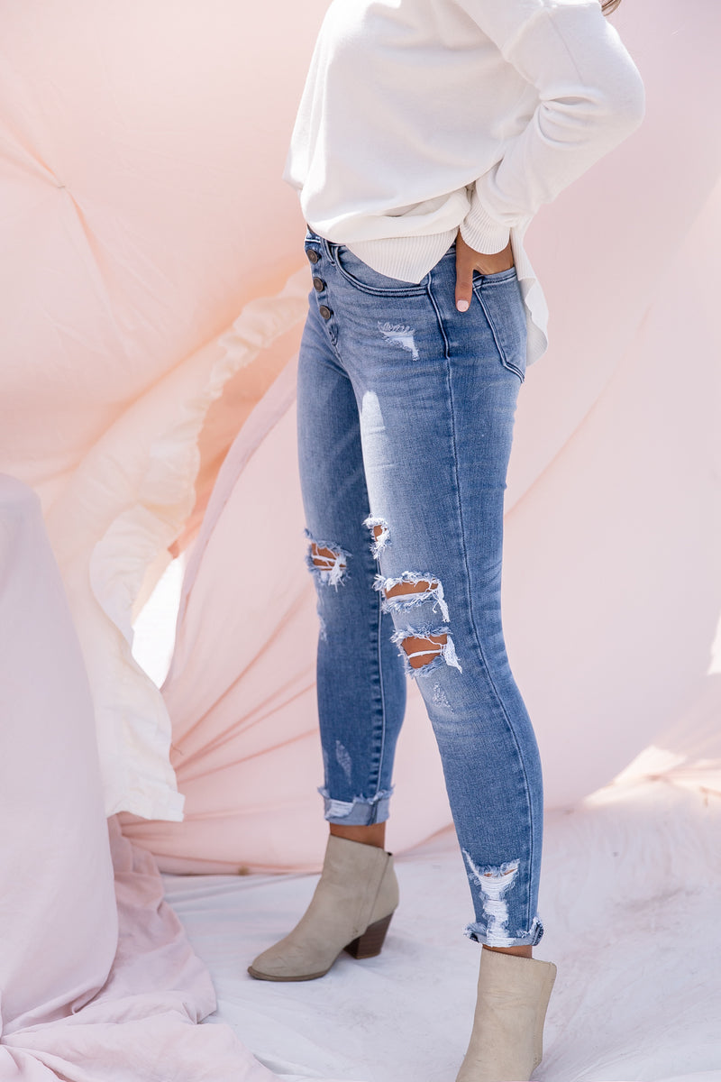 Perfect Distressing Medium Wash Jeans