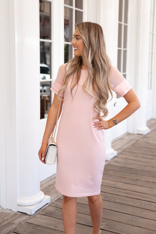 Mesh Sleeve Tulip Dress