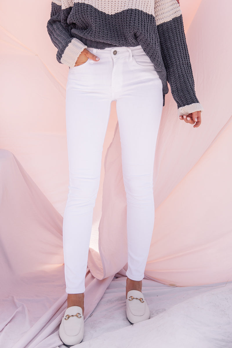 White Mid Rise Classic Skinny Jeans