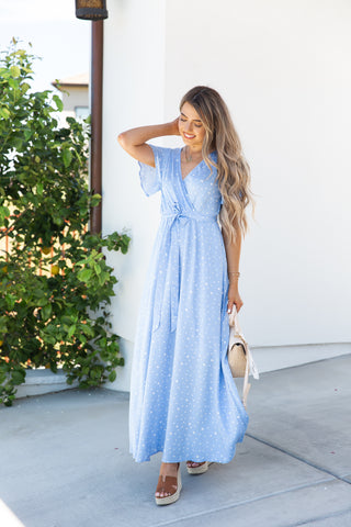 Under The Sky Blue Polka Dot Maxi Dress