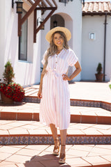 Bahamas Pink and White Stripe Dress - llacie