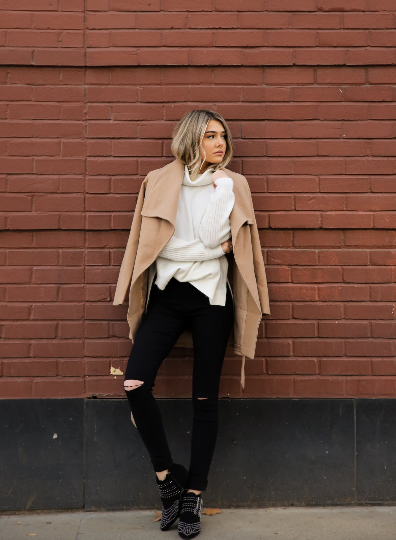 Wrap Oversized Collar Belted Wool Look Coat