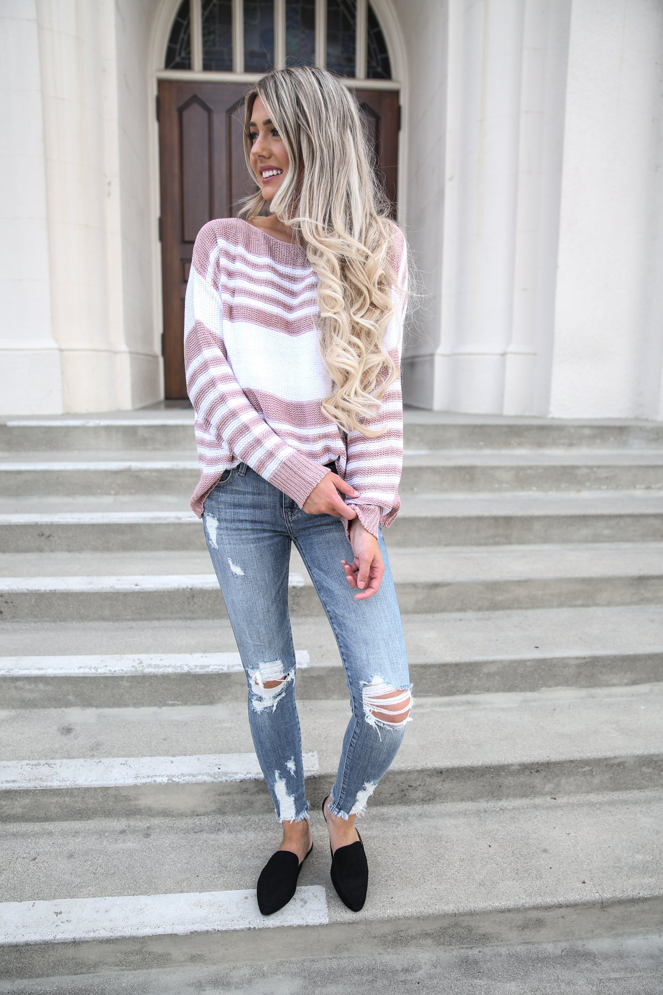 Morgan Mauve and White Striped Sweater
