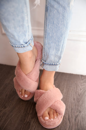 Pink Fuzzy Slippers-FINAL SALE
