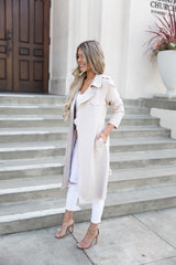 Stace Faux Suede Trench Coat - llacie