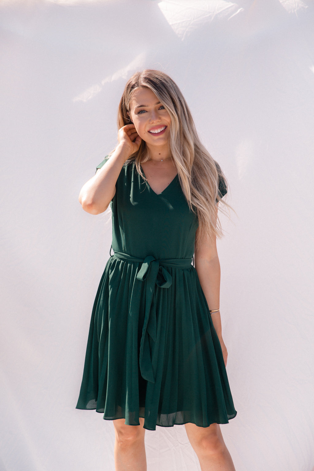 Cecelia Emerald Pleated Dress