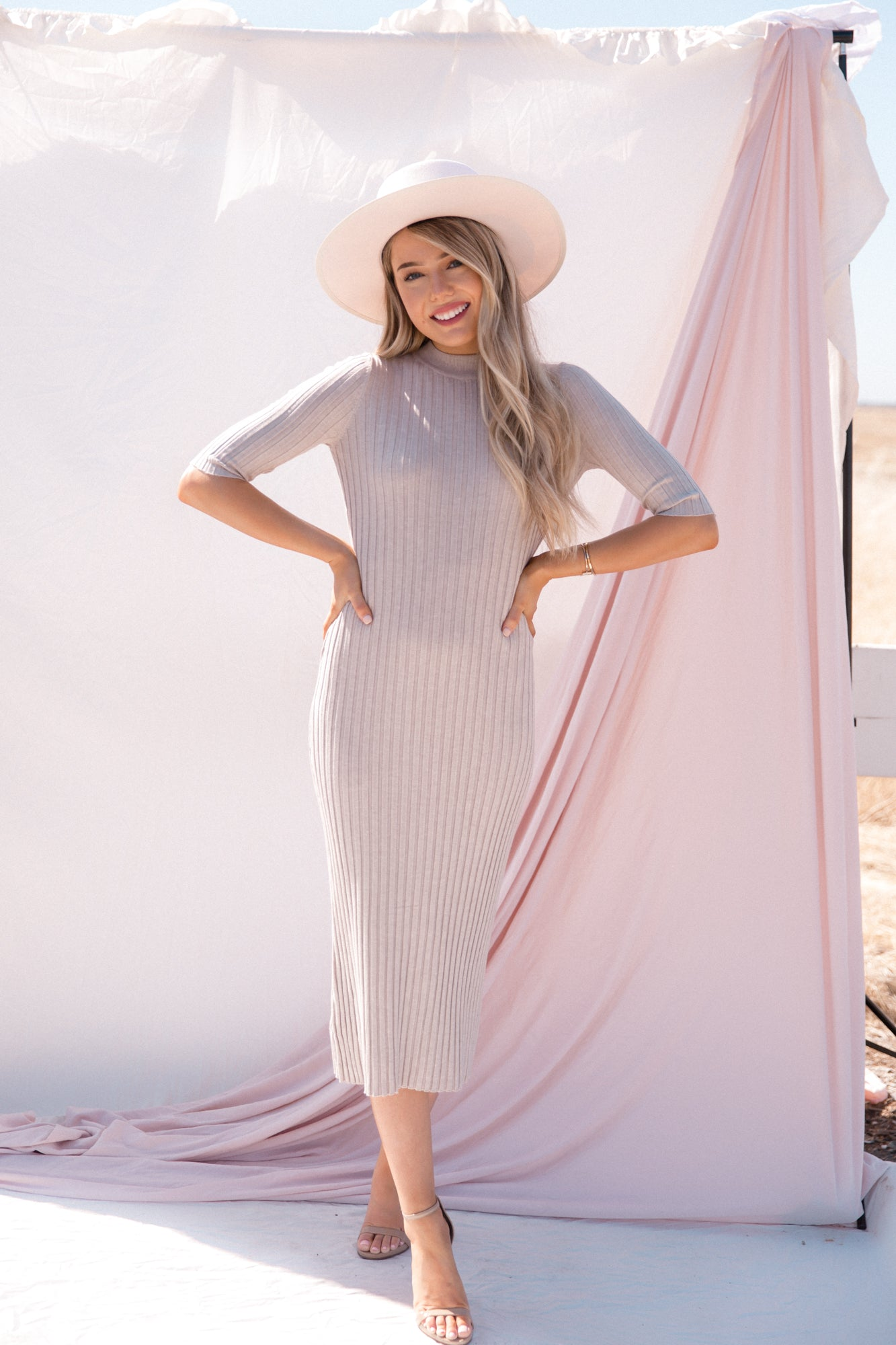 Jolie Warm Grey Ribbed Dress