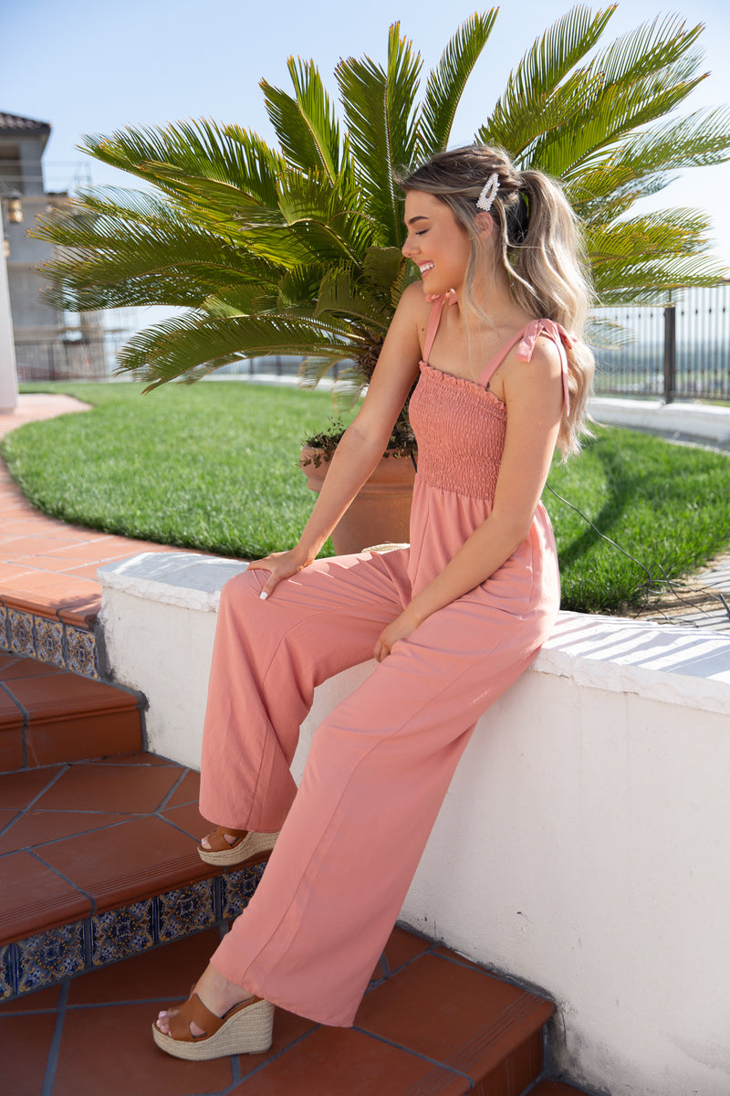 Demi Coral Smocked Jumpsuit - llacie