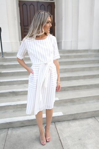 Whitney White Stripe pocket dress