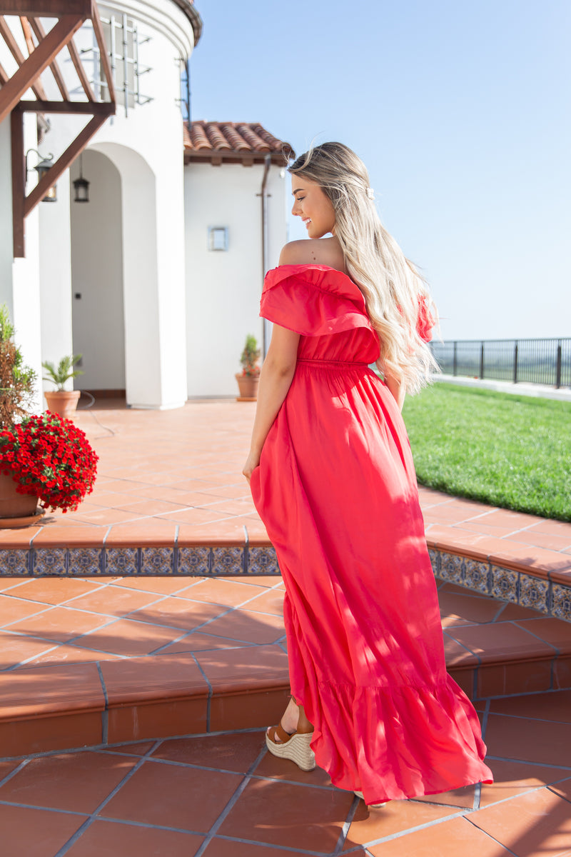 Tassel Off The Shoulder Maxi Dress- FINAL SALE