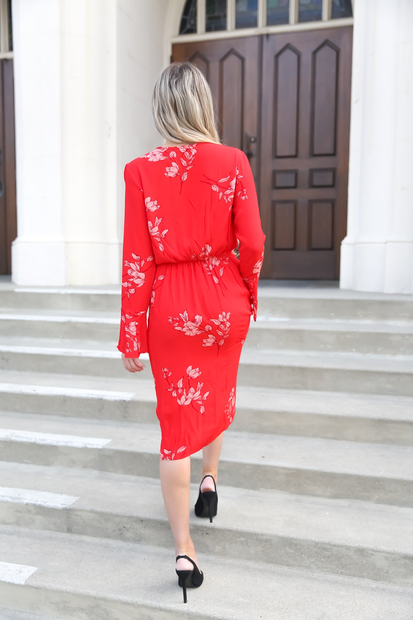 Ruby Red Long Sleeve Dress - llacie