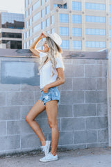 Ocean Denim Distressed Shorts