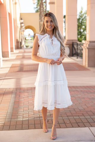 Mae Ivory Ruffle Midi Dress - llacie