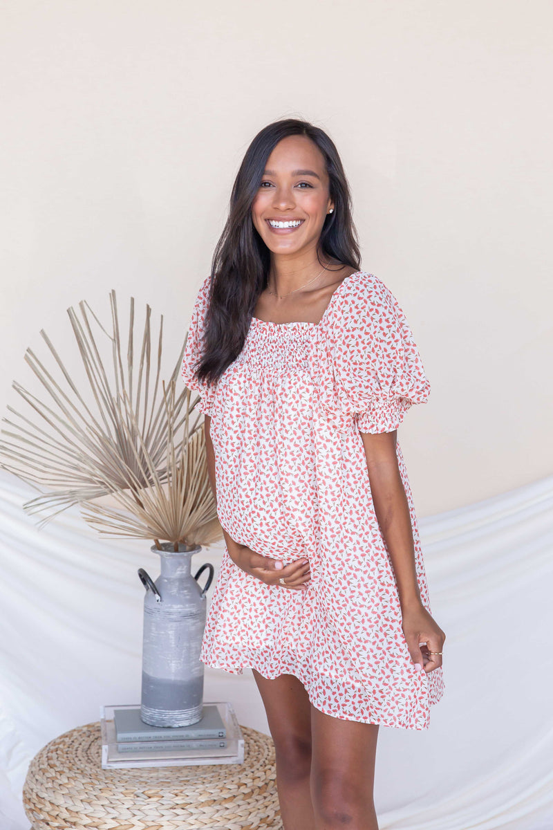 The One Flower Dress | Coral- Bump Friendly