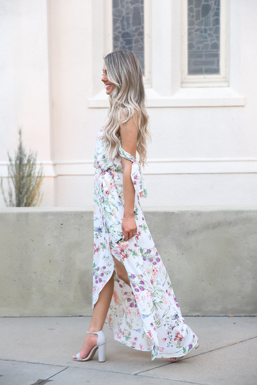 Victoria Sleeve Tie Floral Dress