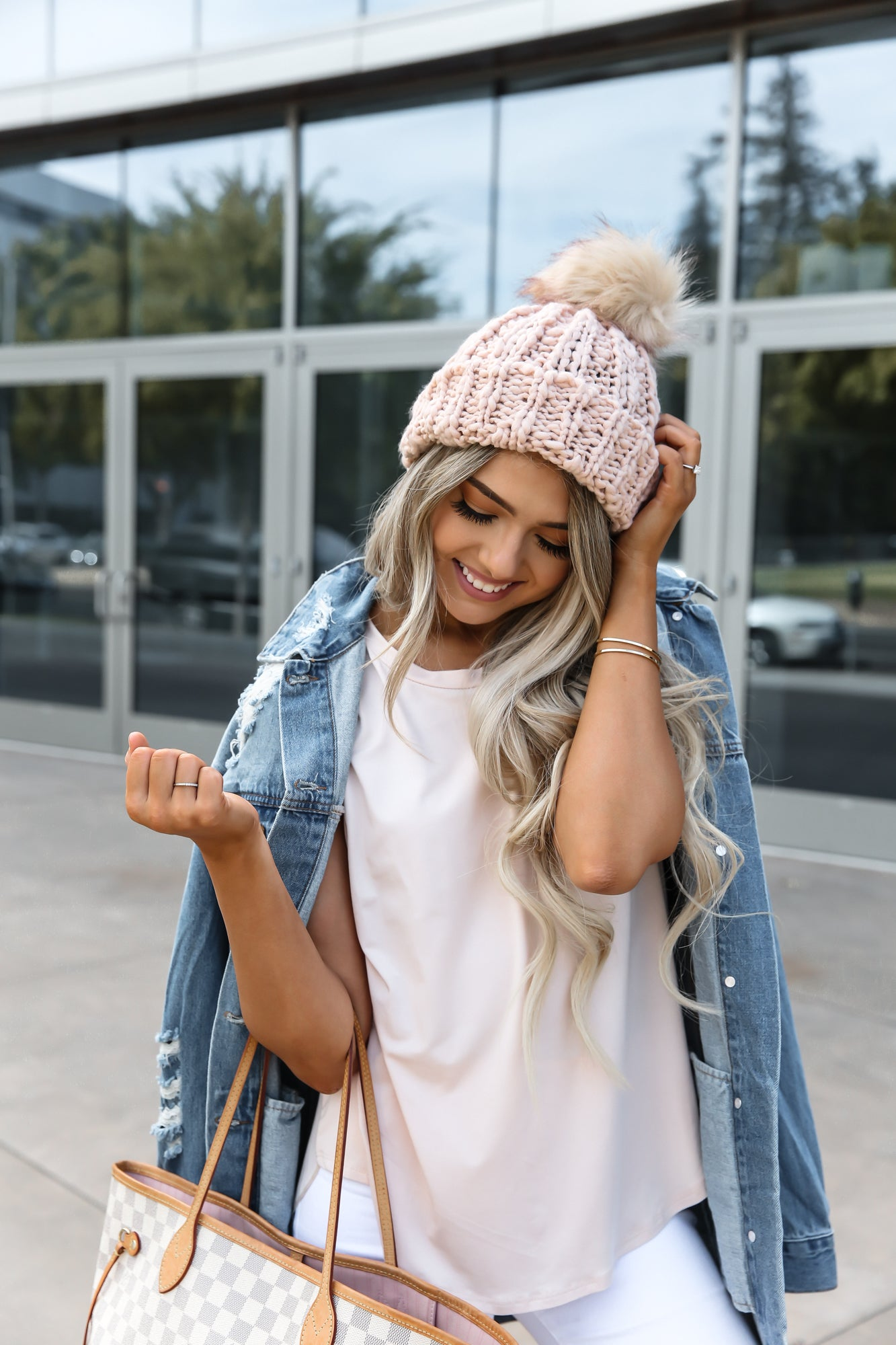 Pink Knit Beanie Hat with Fur Pom Pom