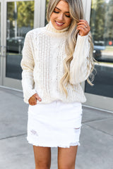 Turtleneck Chunky Cable Knitted Sweater- Off White
