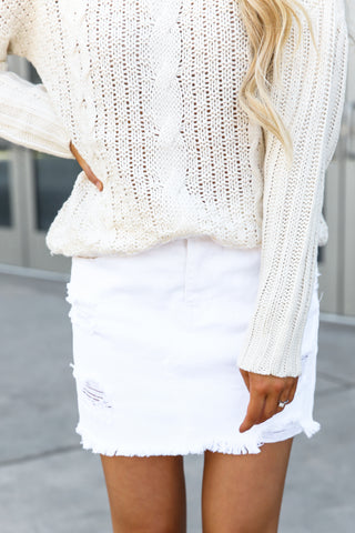White Denim Mini Skirt in Distressed- FINAL SALE