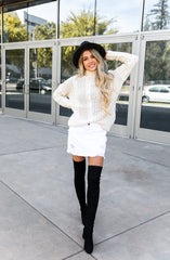White Denim Mini Skirt in Distressed