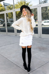 Turtleneck Chunky Cable Knitted Sweater- Off White- FINAL SALE