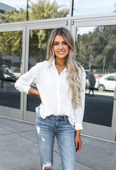 Classic White Button Up Top